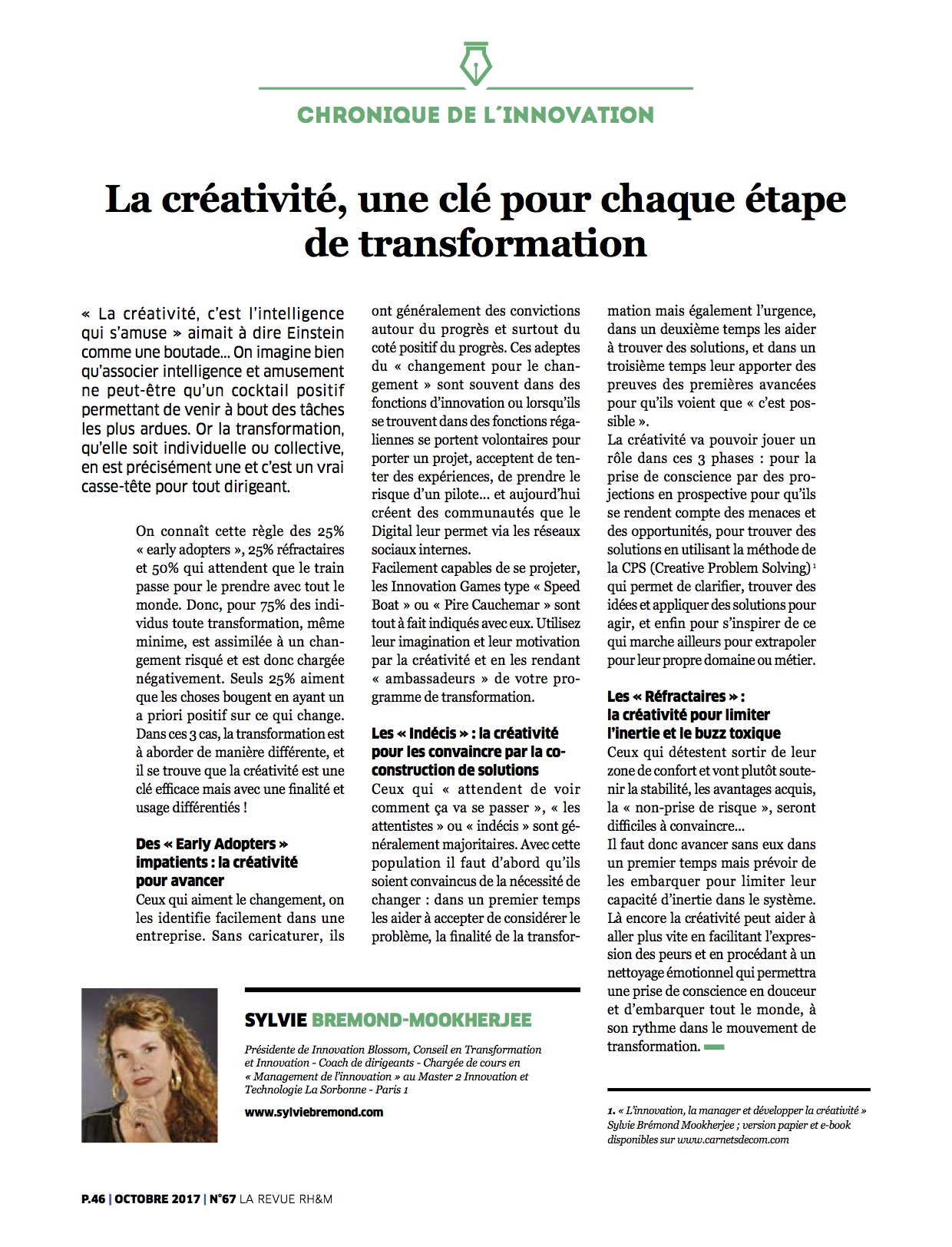 creativite cle etape transformation