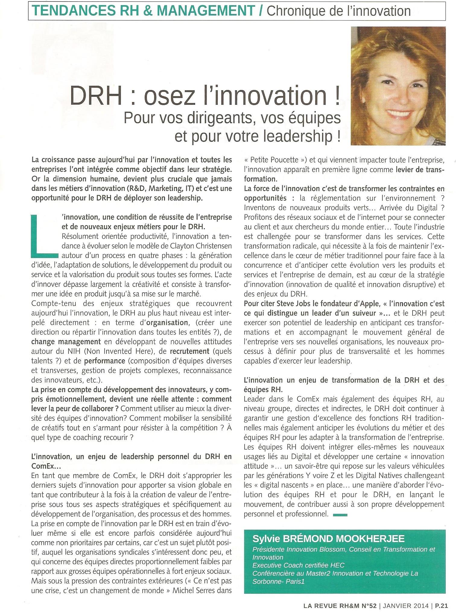drh osez innovation revue rh&m sylvie bremond