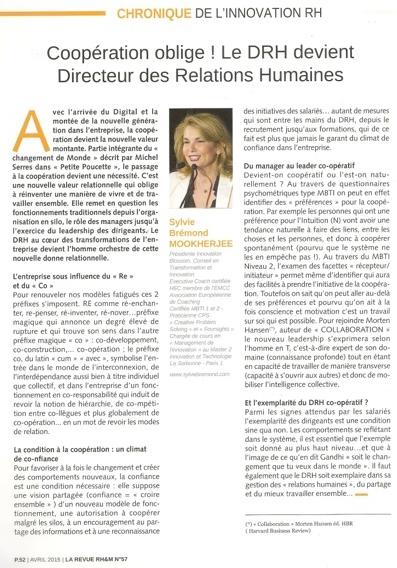 Chronique Innovation DRH - cooperation oblige DRH devient directeur des relations humaines