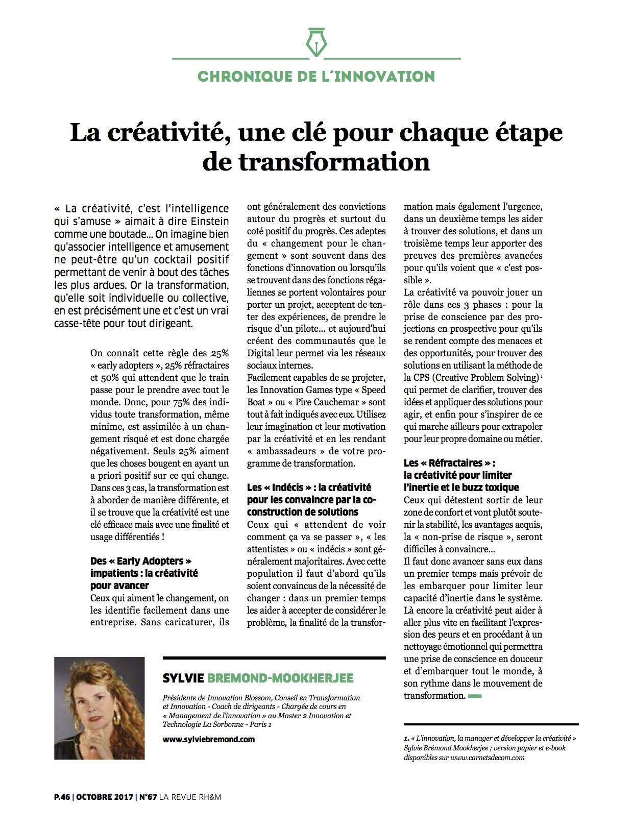 creativite cle etape transformation
